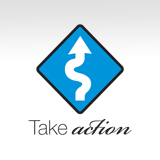 Sign with Arrow Highlighting Take Action